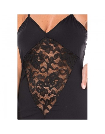 Robe cocktail empiècement dentelle - Noir